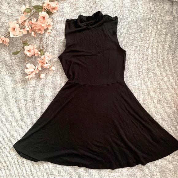 Garage brand black fit and flare skater dress